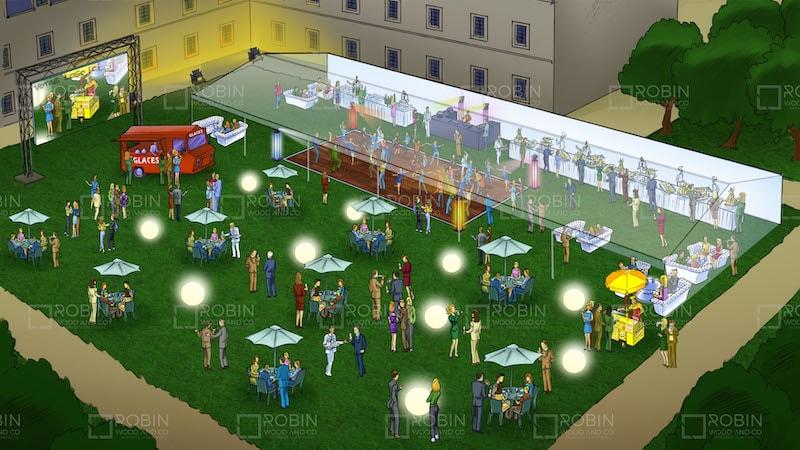 Animation soirée entreprise Paris - Concept événementiel plein air